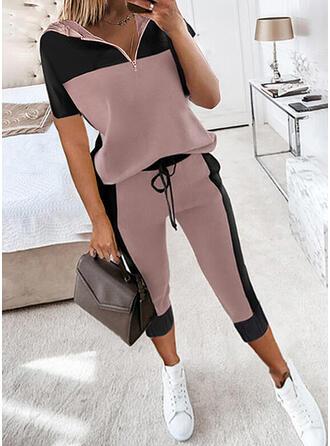 Χρώμα μπλοκ Ανέμελος sweatshirts & Ρούχα Δύο Κομματιών Set ()