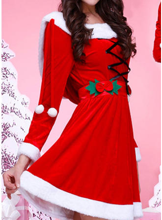 Color Block Long Sleeves A-line Knee Length Christmas Dresses
