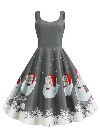 Print Sleeveless A-line Knee Length Vintage/Christmas/Party/Elegant Skater Dresses