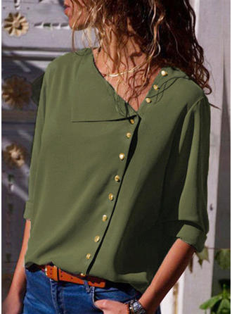 Polyester V Neck Plain Long Sleeves Casual Blouses