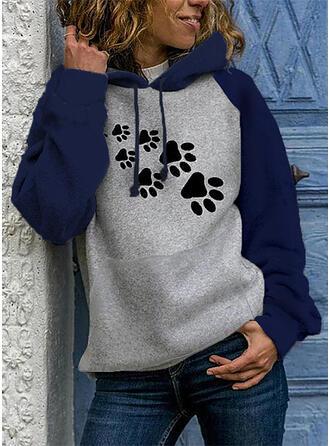 Animal Print Dlouhé rukávy Kapuce