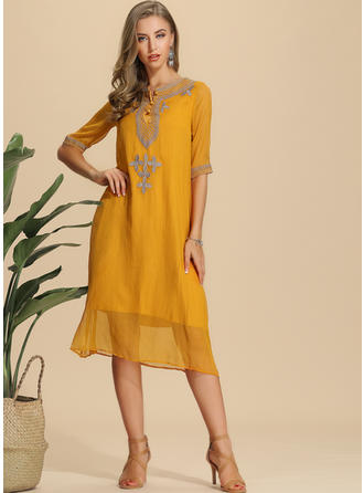 6c7d1fc1c9 quick view Embroidery/Solid 1/2 Sleeves Shift Knee Length Casual Dresses