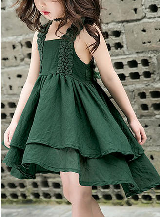Girls Square Collar Lace Casual Cute Vacation Dress