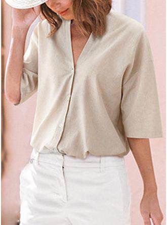 Linen V Neck Plain 1/2 Sleeves Casual Blouses