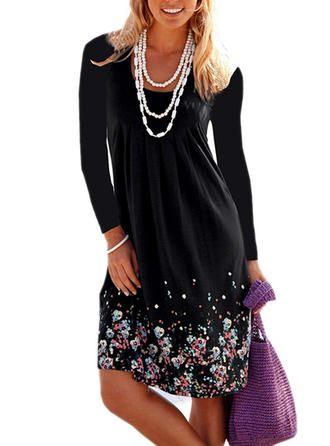Floral Long Sleeves Shift Knee Length Dresses