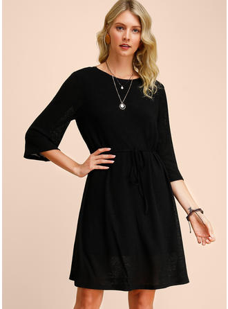 Solid 3/4 Sleeves A-line Knee Length Little Black/Casual Dresses