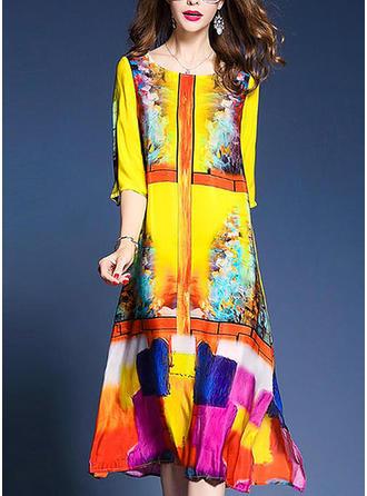 Print Round Neck Maxi Shift Dress