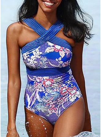 Tropical Print V-neck Sexy One-piece Swimsuits