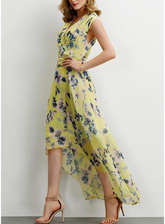 Print/Bloemen Mouwloos A-lijn Asymmetrische Casual/Elegant Jurken