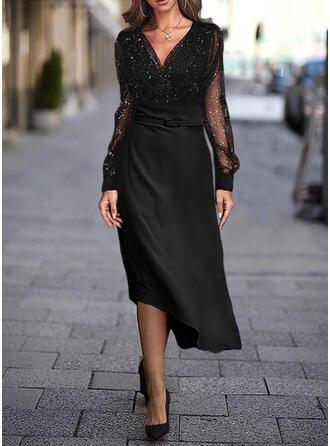 Paillettes/Couleur Unie Manches Longues Trapèze Patineuse Petites Robes Noires/Décontractée/Élégante Midi Robes