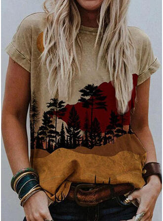 Print Forest Round Neck Short Sleeves Casual T-shirts