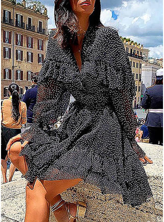 PolkaDot Long Sleeves/Lantern Sleeve A-line Casual Maxi Dresses