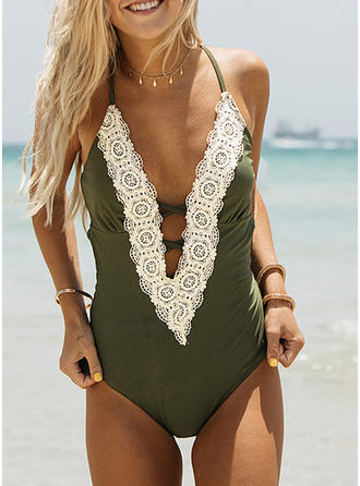 Solid Color Halter Beautiful One-piece Swimsuits