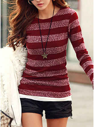 Knit Round Neck Striped Sweater