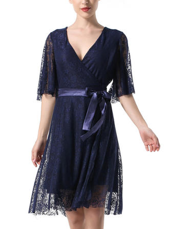 Lace Solid V-neck Knee Length A-line Dress