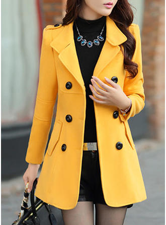 Polyester Long Sleeves Plain Slim Fit Coats