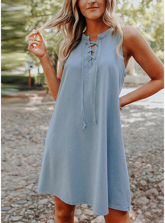 Solid/Lace-up Sleeveless Shift Above Knee Casual Dresses