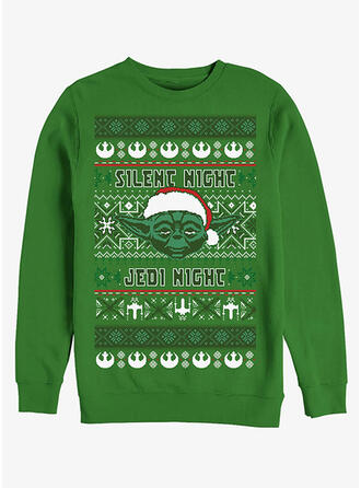 Unisex Cotton Blends Print Letter Christmas Sweatshirt
