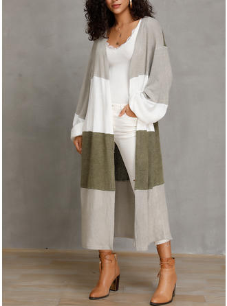 Cotton Blends Long Sleeves Color Block Cardigans