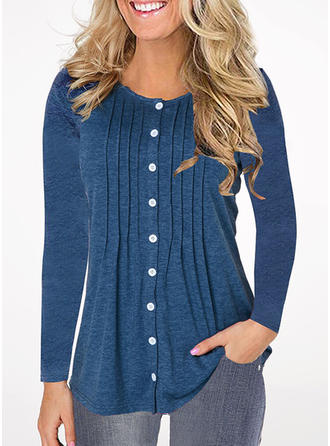 Solid Round Neck Long Sleeves Button Up Knit Ruffle Blouses