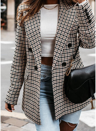 Long Sleeves Plaid Slim Fit Coats