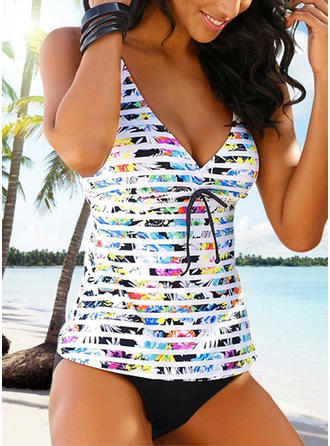 Floral V-Neck Sexy Plus Size Tankinis Swimsuits (202255203)