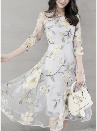 Print Floral Round Neck Knee Length A-line Dress
