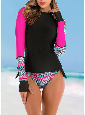 Print Wave Cut Round Neck High Neck Sports Vintage Tankinis Swimsuits