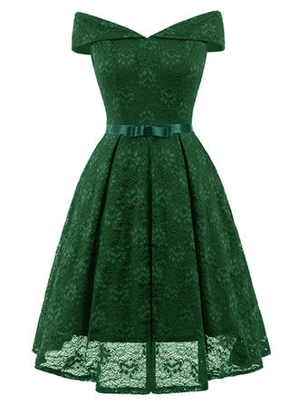 Lace/Solid Short Sleeves A-line Knee Length Vintage/Party/Elegant Dresses