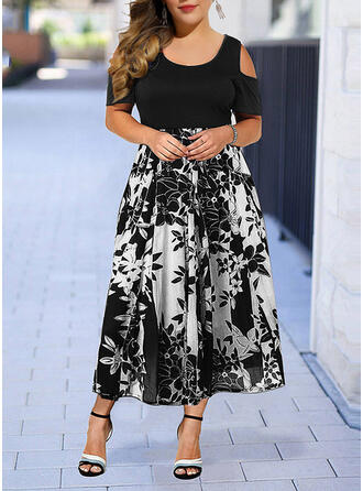 Plus Size Floral Print Short Sleeves A-line Midi Elegant Dress