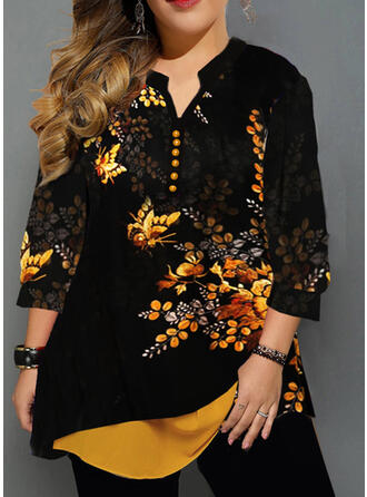 Animal Print Floral V-Neck 3/4 Sleeves Button Up Casual Plus Size Blouses