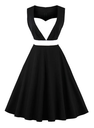 Color-block Asymmetrical Knee Length A-line Dress