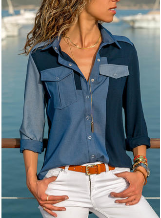 Color Block Lapel Long Sleeves Button Up Shirt Blouses