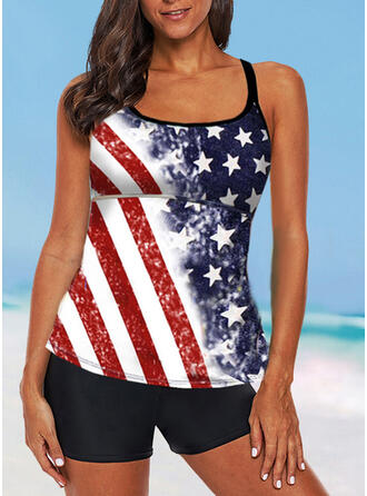 Flag Star Strap U-Neck Vintage Plus Size Tankinis Swimsuits