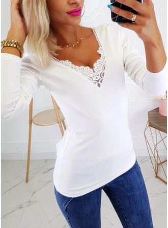 Solid Lace V-Neck Long Sleeves Casual Elegant T-shirts