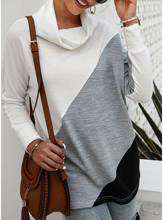 Color Block Stand collar Long Sleeves Casual Knit Blouses