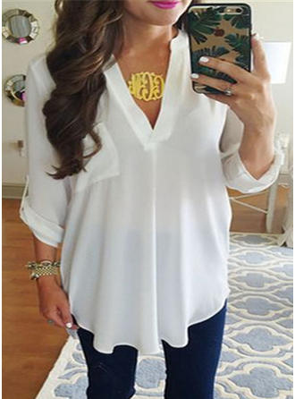 Chiffon V Neck Plain Long Sleeves Button Up Blouses