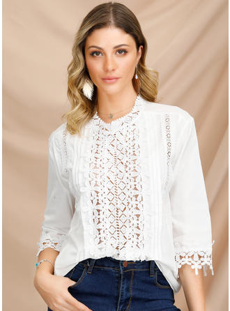 Lace V Neck 3/4 Sleeves Button Up Casual Blouses