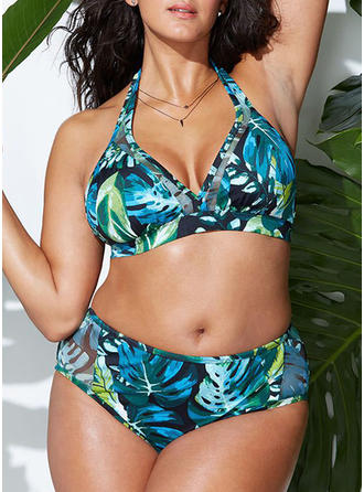 Leaves Halter Sexy Plus Size Bikinis Swimsuits