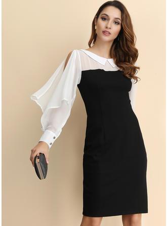 Color-block Long Sleeves/Split Sleeve Sheath Knee Length Party/Elegant Dresses