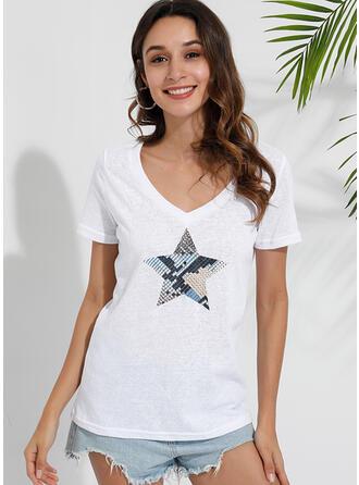 Print V-Neck Short Sleeves Casual Knit T-shirts