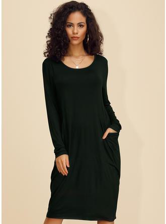 Jednolita Długie rękawy Koktajlowa Długośc do kolan Casual Sukienki