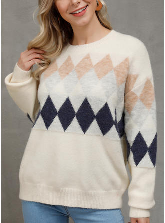 Geometric Print Round Neck Sweaters