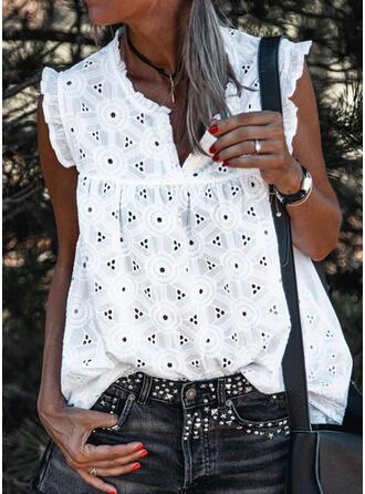 Jednolity Dekolt w kształcie litery V Bez Rękawów Koszulki bez rękawów
