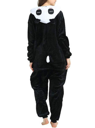 Polyester Solid Round Neck Long Sleeves Animal Bear Romper