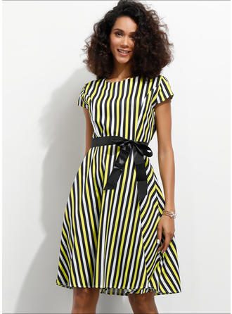 Print/Striped Short Sleeves A-line Knee Length Casual Dresses
