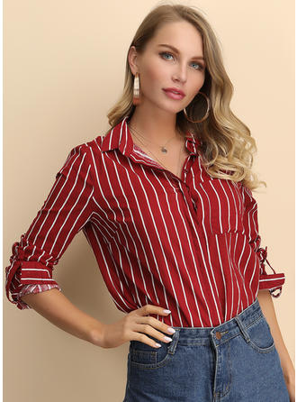 Striped Lapel Long Sleeves Casual Shirt Blouses