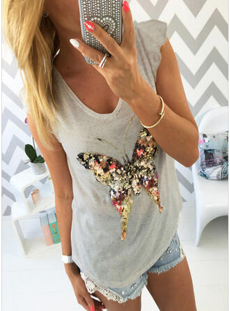 Print Sequins V-Neck Sleeveless Casual Tank Tops