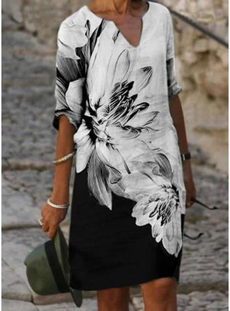 Tisk/Květiny/Color-block 1/2 rukávy Splývavé Délka ke kolenům Neformální Tunika Šaty
