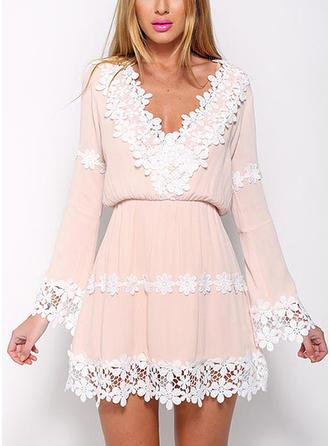 Lace V-neck Above Knee A-line Dress